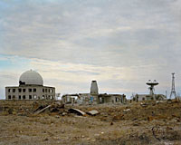 Kube-Kontur station and destroyed radars, soviet base for space observation, satellite control